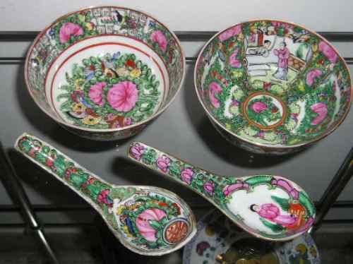1204- juego de 2 bowls y 2 cucharas porcelana canton
