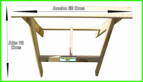 caballete de madera plegable pino reforzado, tablon escalera