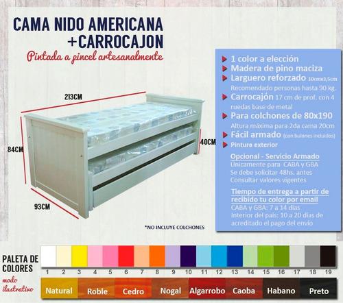 cama nido doble x2 superpuesta + carrocajón 1 plaza blanca