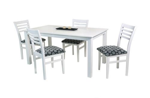 juego en madera lustre blanco con 4 sillas tapizado chenille