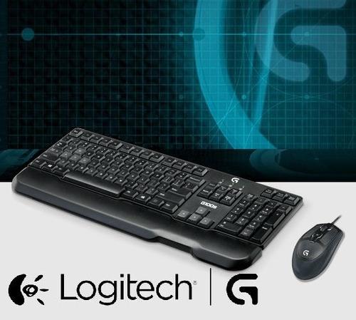 kit mouse y teclado gamer logitech g100s usb - en la plata
