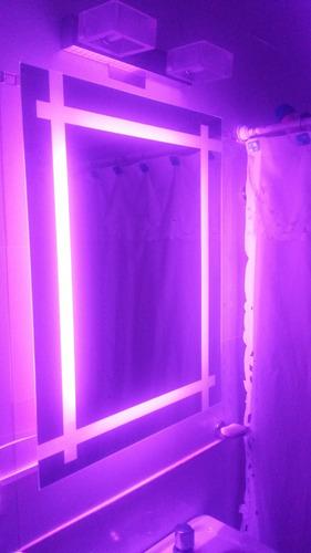moderno espejo para baño con luz led rgb diseño a medida