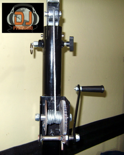 tripode malacate 3 mts iluminacion negro + barral doble caño