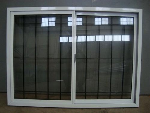 ventana aluminio blanco con vidrio y reja 150x110