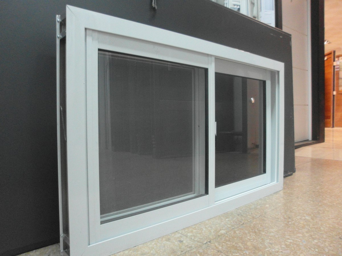 Ventana aluminio blanco herrero 080 x 040 con vidrio for Mosquiteros de aluminio